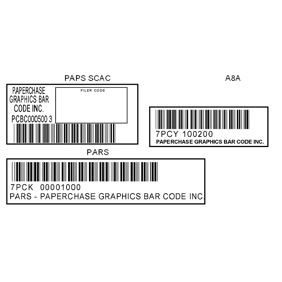 Pars Paps A8A Customs control Bar Codes